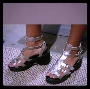 Neptune silver strap Gladiator sandals